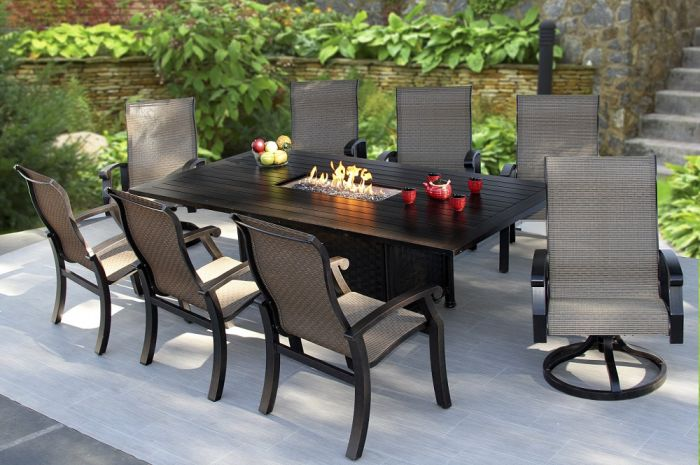 barbados sling outdoor patio 9pc dining set for 8 person with rectangle fire table