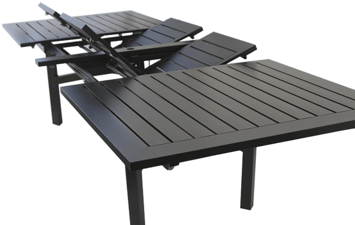 heritage outdoor living rectangle extendable dining table series 4000