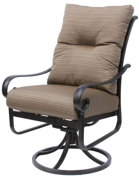tortuga aluminum outdoor patio dining swivel rocker chair with cushion antique bronze