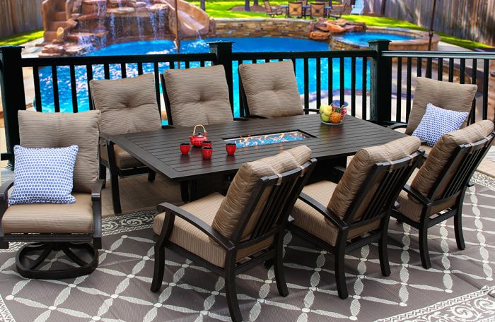 barbados cushion outdoor 9 piece dining set with fire table