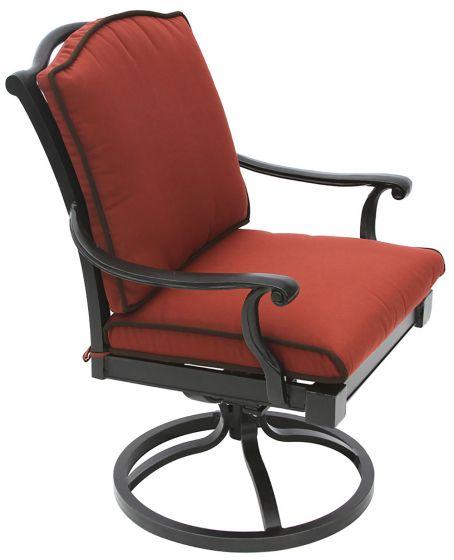 bahama cast aluminum outdoor patio swivel rocker chair with cushion antique bronze