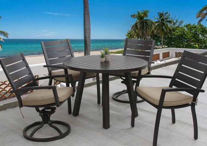 small quincy outdoor patio 5pc dining set with 42 inch round table series 4000
