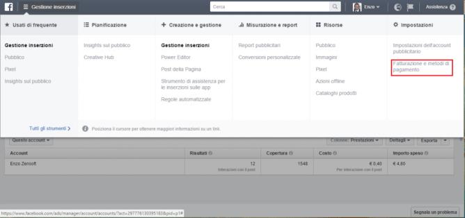Come Gestire Facebook Ads di un Cliente-menu gestione inserzioni fatturazione