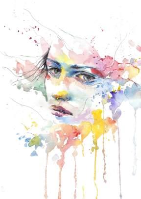 akvarell festmény-lány-arc