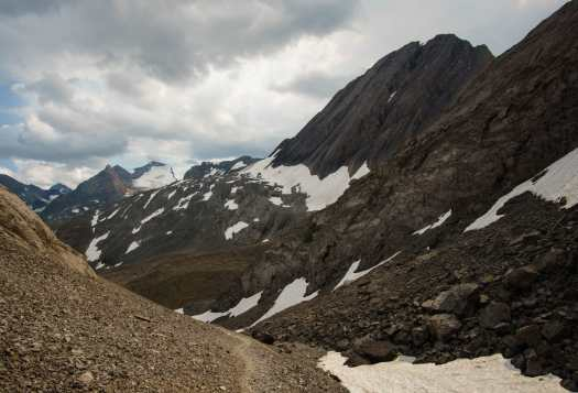 Back on the northover ridge trail, looking back at Warrior Mountain