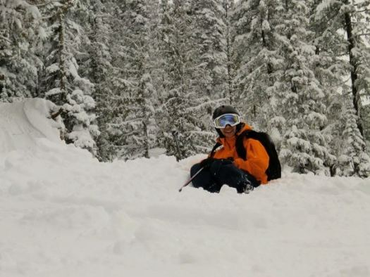 Resting in the powder at Revelstoke