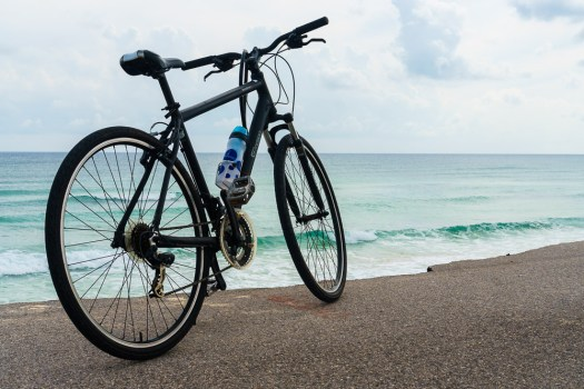 Biking along Cozumel shoreline