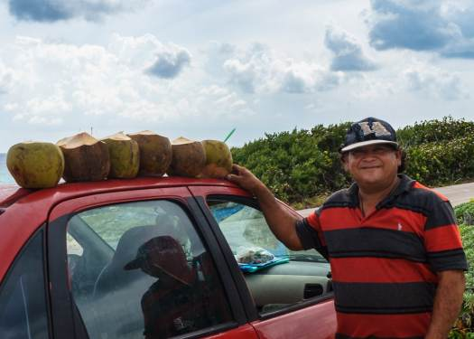 Fresh Coconut vendor in Cozumel