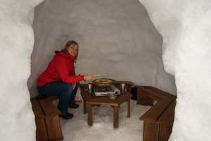 Eating at a snow hut in japan