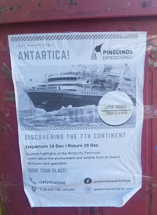 Flyer for a last minute Antarctica cruise