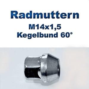Radmuttern M14x1,5 mit Kegelbund 60°