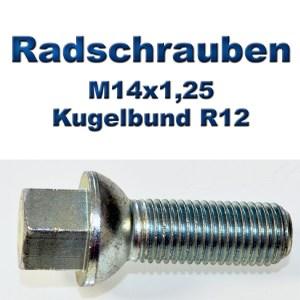 Radschrauben M14x1,25 mit Kugelbund R12