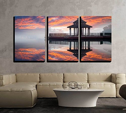 wall26 – 3 Piece Canvas Wall Art – Sunrise of Sun Moon Lake, Taiwan ...