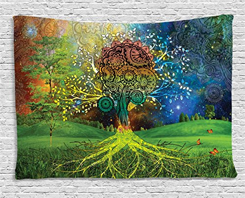 Ethnic Tapestry by Ambesonne, Tree in the Valley with Spiral Branch ...
