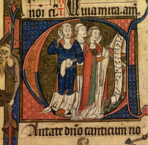 Tre cantori (da un manoscritto medievale)