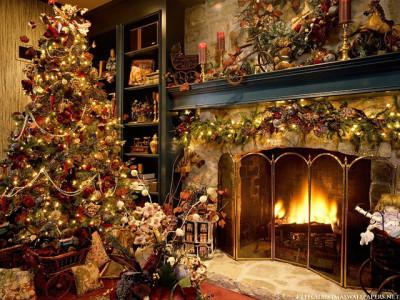 室内の暖炉とクリスマスツリー