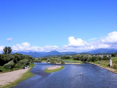 夏の川と川沿いの風景