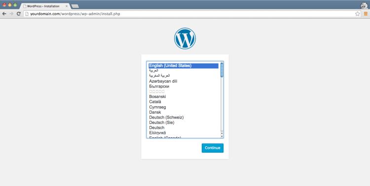 Wordpress Install - Language -Step 2