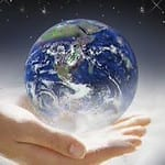 Man holds Earth in his hands.