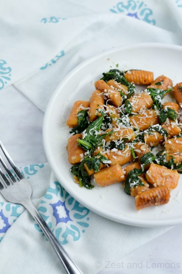 Gnocchi with Spinach garlic butter sauce