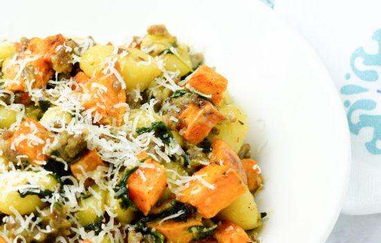Sweet Potato, Sausage, and Spinach Gnocchi (gluten free)