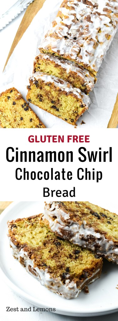 A deliciously moist gluten free quick bread with a sweet cinnamon swirl inside - Zest and Lemons #glutenfreebread #cinnamonswirl