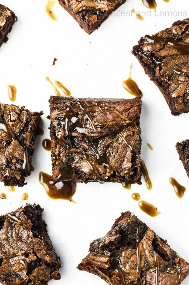 Caramel Gluten Free Brownies with coffee caramel swirl - Zest and Lemons