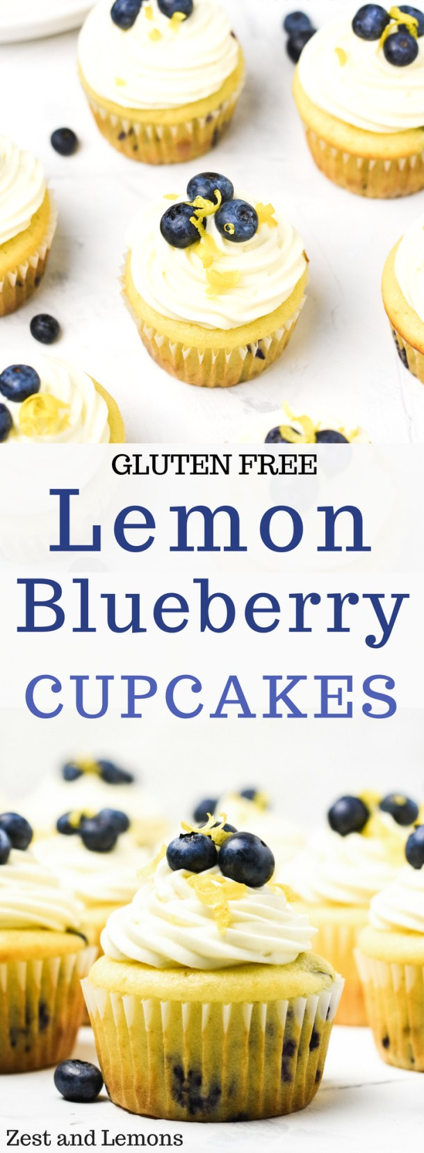 Gluten free lemon blueberry cupcakes with vanilla whipped cream cheese frosting- Zest and Lemons #glutenfree #cupcakes