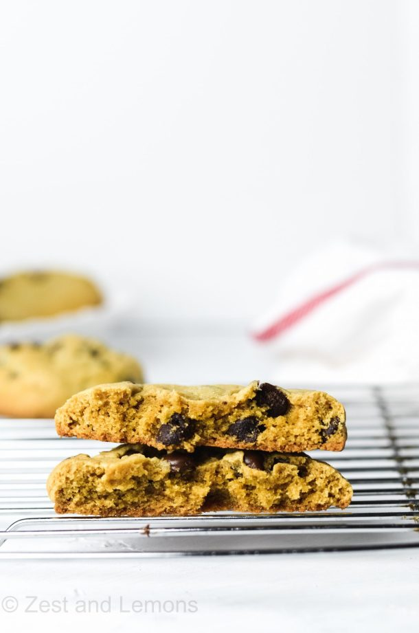 Thick and chewy gluten free peanut butter chocolate chip cookies - Zest and Lemons