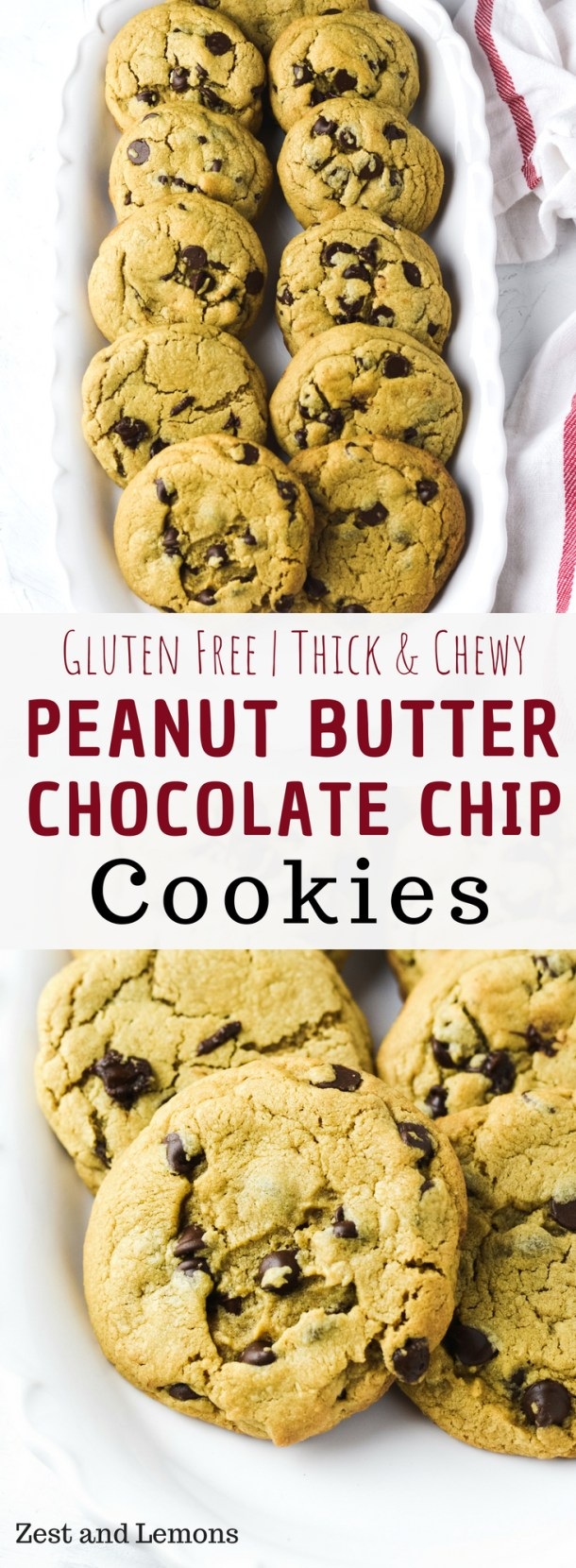Thick and chewy gluten free peanut butter chocolate chip cookies - Zest and Lemons #glutenfreecookies