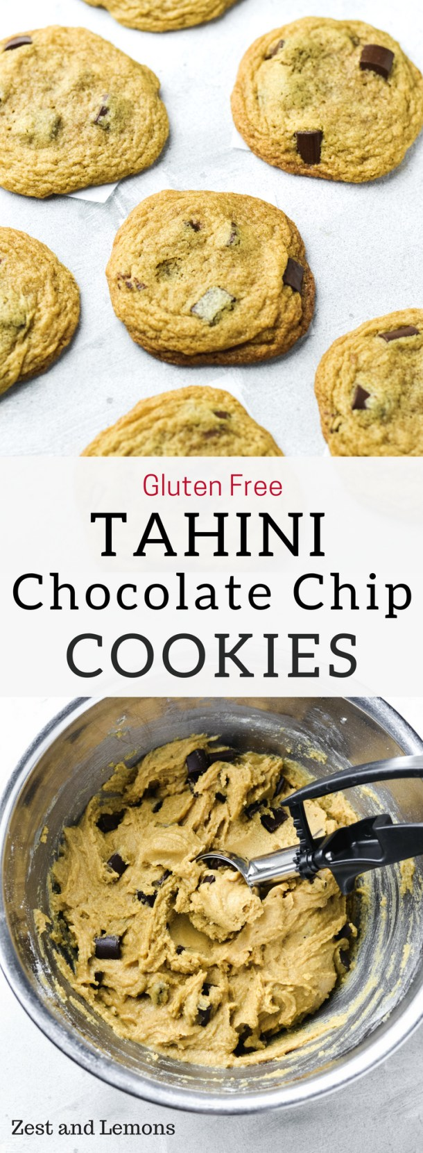 These thin and chewy tahini chocolate chip cookies have a slight nutty taste, and are gluten free! - Zest and Lemons #glutenfreecookies #tahinicookies #chocolatechipcookies
