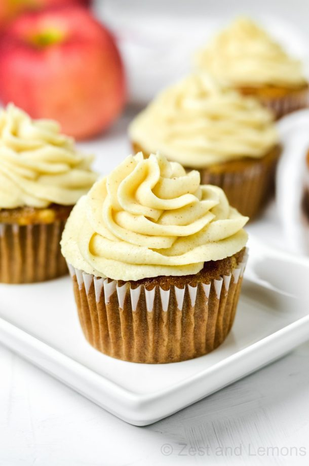 Gluten free apple spice cupcakes with cinnamon mascarpone frosting - Zest and Lemons