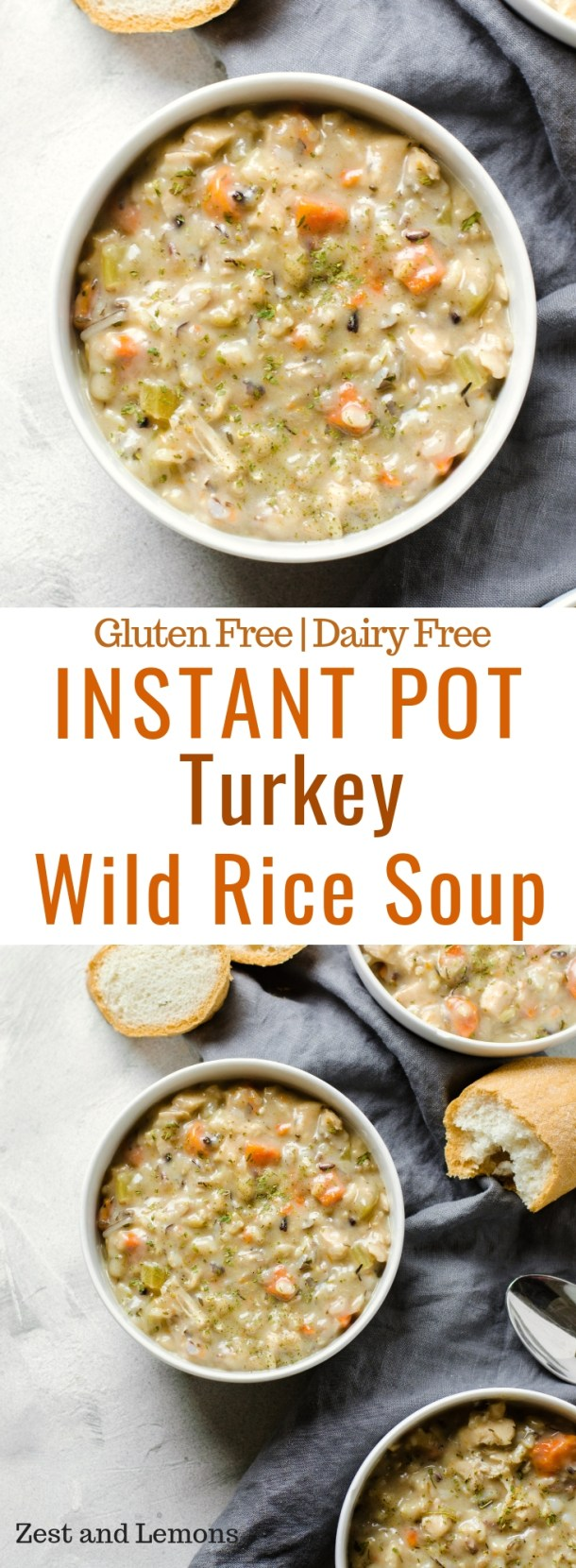 Instant Pot Turkey Wild Rice Soup. A thick and creamy soup for this winter season, and perfect for using leftover Thanksgiving turkey! - Zest and Lemons