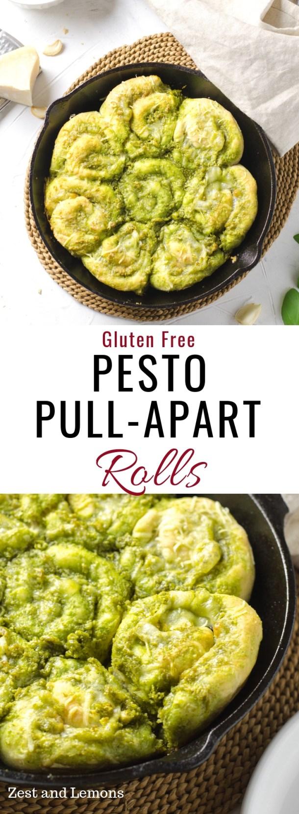 Gluten free pesto pull-apart rolls. Made with a creamy homemade pesto sauce - Zest and Lemons #glutenfree #glutenfreerolls