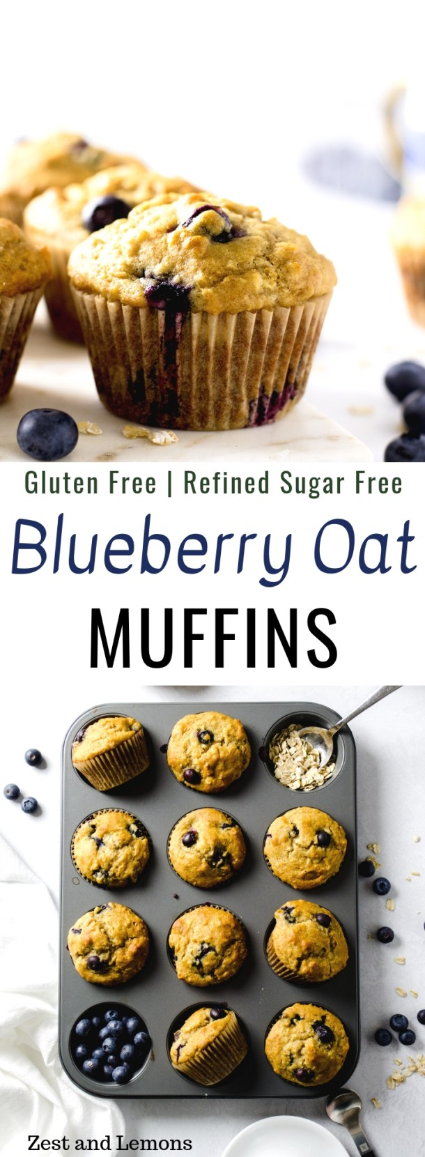Gluten free blueberry oat muffins. Refined sugar free and easy to make - Zest and Lemons #glutenfree #glutenfreemuffins #blueberrymuffins #oatmealmuffins