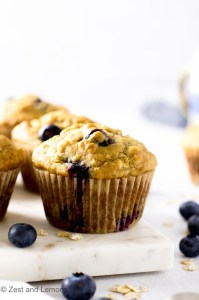 Gluten Free Blueberry Oat Muffins. Refined sugar free - Zest and Lemons