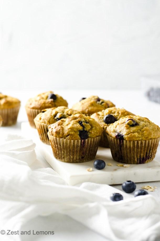 Gluten Free Blueberry Oat Muffins. Refined sugar free - Zest and Lemons