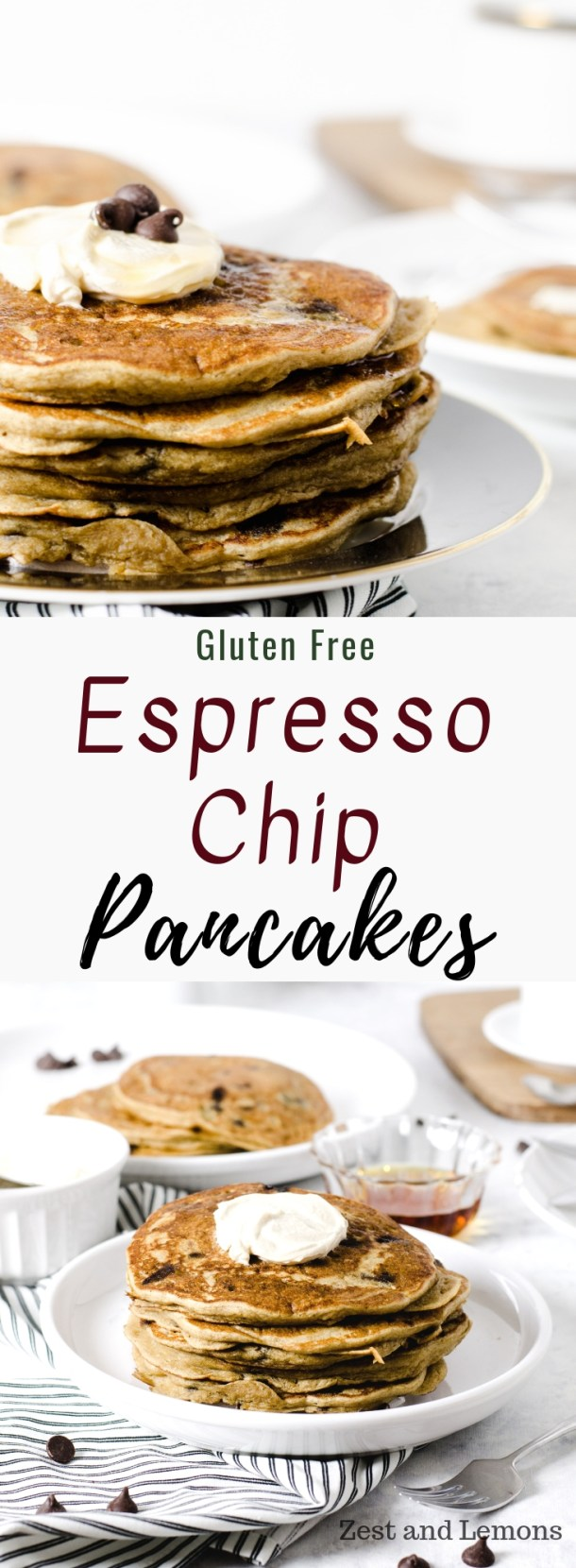 Espresso chip gluten free pancakes. Fluffy gluten free pancakes with a light espresso flavor and loaded with chocolate chips, topped with an espresso mascarpone topping - Zest and Lemons #glutenfreepancakes #pancakes #glutenfreebreakfast