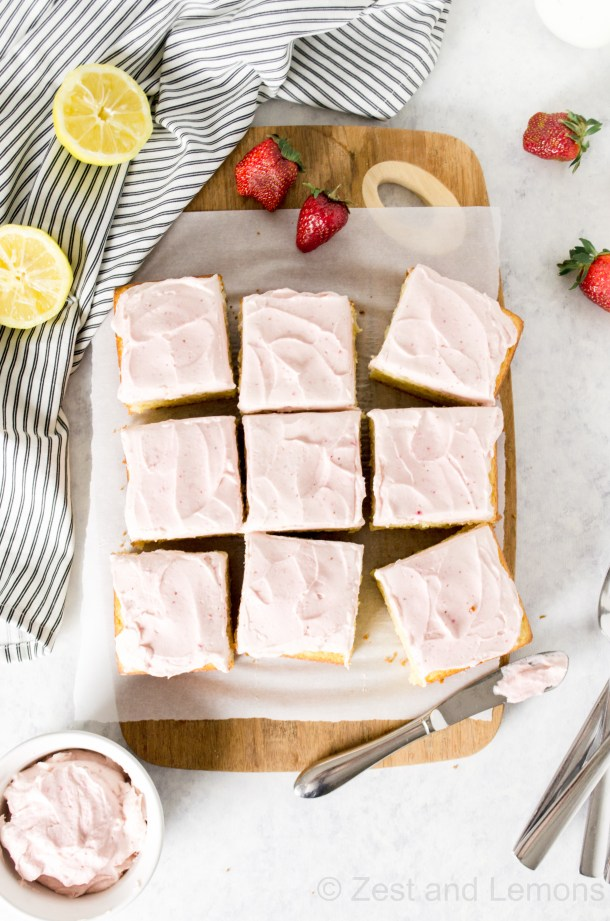 Gluten Free Lemon Cake with strawberry cream cheese frosting - Zest and Lemons
