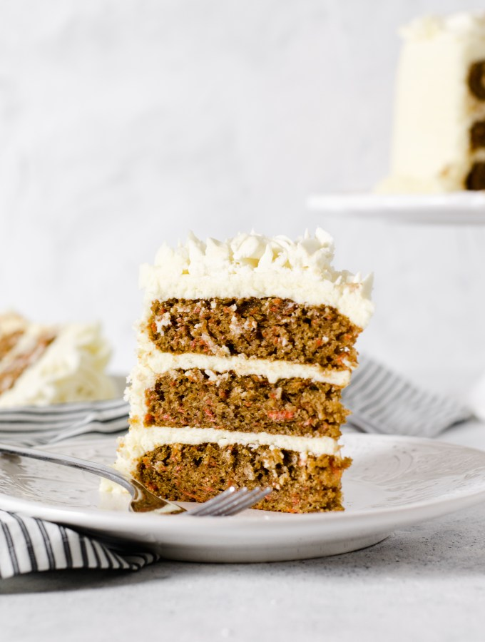 Three layer gluten free carrot cake with cream cheese frosting - Zest and Lemons