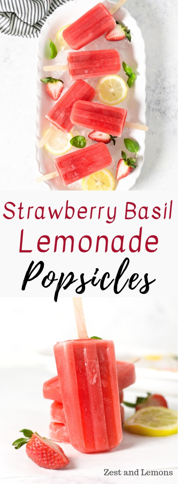 Strawberry basil lemonade popsicles. Berry lemonade popsicles flavored with a basil honey simple syrup - Zest and Lemons #glutenfree #popsicles #strawberrylemonade #lemonadepopsicles