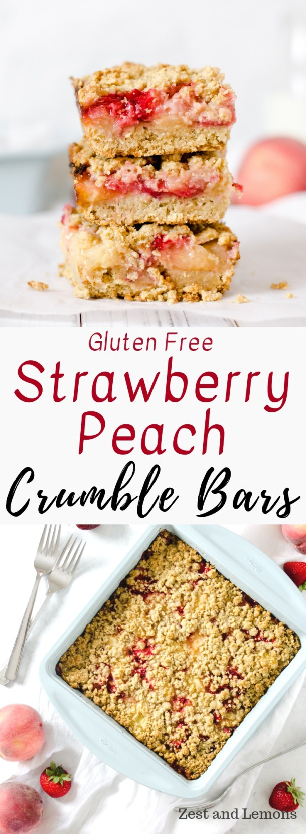 Strawberry Peach Gluten Free Crumble Bars. Made with a gluten free oatmeal cookie crust, and loaded with fresh summer fruit - Zest and Lemons #glutenfree #crumblebars #crumbbars #peachcrumbbars #glutenfreedessert
