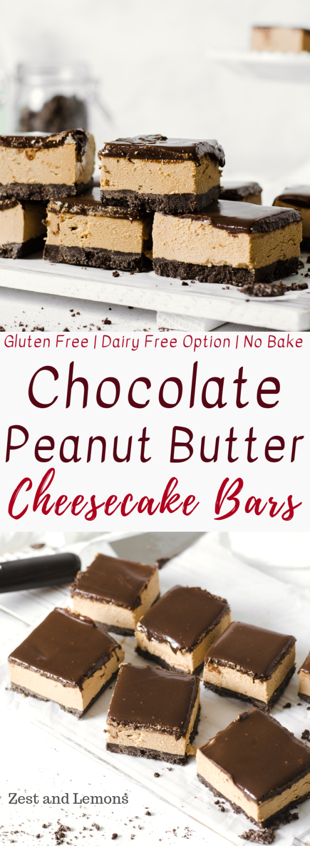 No-Bake Chocolate Peanut Butter Cheesecake Bars. Gluten free cheesecake bars with chocolate cookie crust, whipped peanut butter cheesecake filling, and creamy chocolate ganache on top - Zest and Lemons #glutenfree #cheesecakebars #peanutbutterbars #peanutbuttercheesecake #chocolatecheesecake #glutenfreedessert