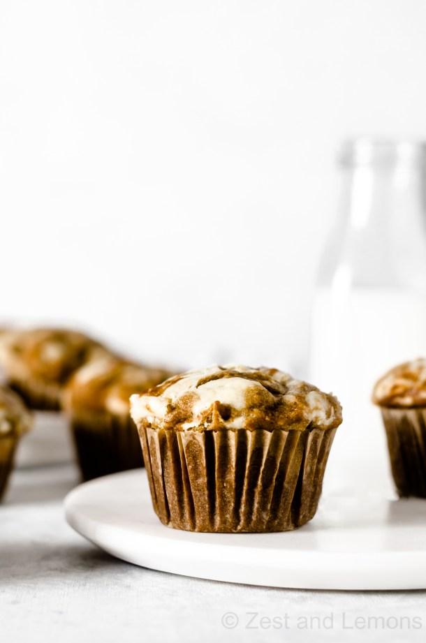 Gluten Free Pumpkin Cheesecake Muffins - Zest and Lemons