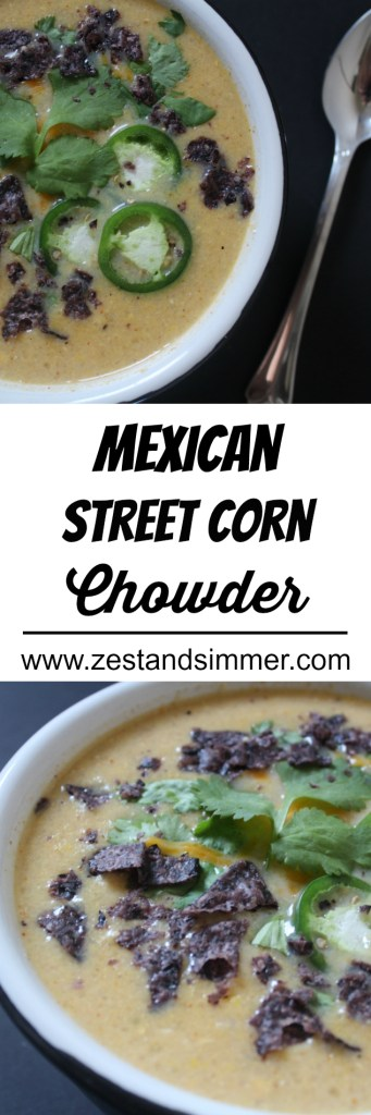 pinterest image for mexican street corn chowder