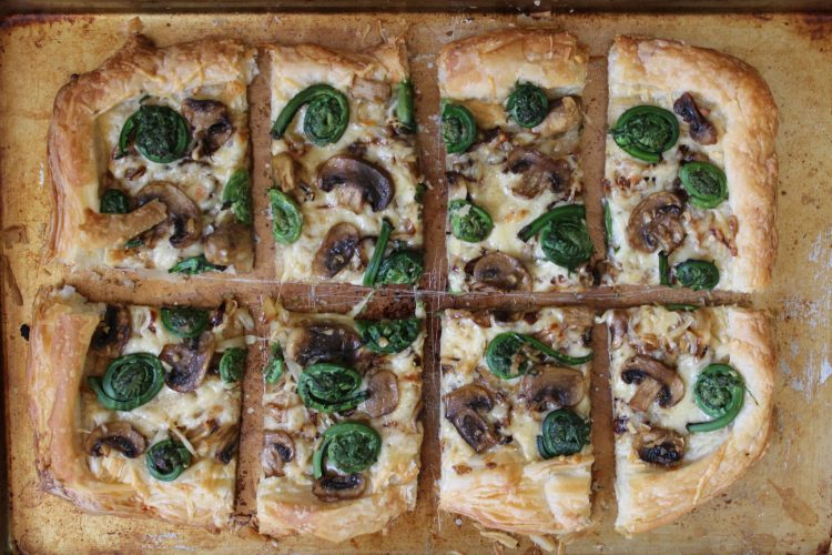Fiddlehead, Mushroom, Caramelized Onion & Gruyere Tart