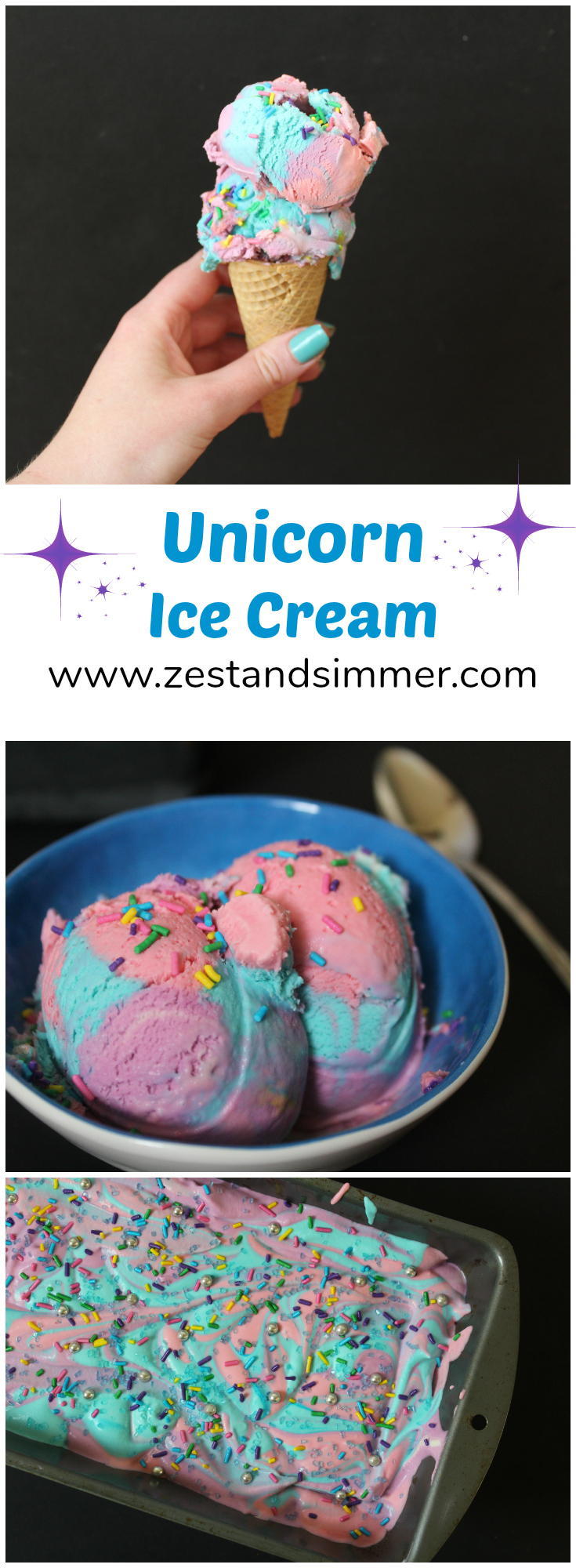 This magical Unicorn Ice Cream is a delicious way to brighten your day! This no-churn recipe calls for only a few ingredients and is fun for kids and adults alike!