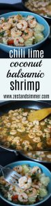 Chili Lime Coconut Balsamic Shrimp - The flavors of sweet coconut, zesty lime, a hint of chili, and cilantro create a marinade that will delight everyone at your table! This recipe is perfect for a quick and easy summer dish, or for those cold days you wish you were in a tropical paradise!