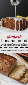 Rhubarb Banana Bread with Cardamom Glaze - this banana bread is moist, sweet with a hint of tartness and the cardamom glaze really makes this one stand out in a crowd! This is a perfect way to use up your remaining rhubarb.