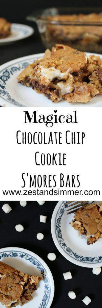 Magical Chocolate Chip Cookie S'mores Bars - these cookie bars contain tons of marshmallows that pull a magical disappearing act when you bake them, but are still full of the classic s'mores flavour. A perfect treat for your summer or fall celebrations!